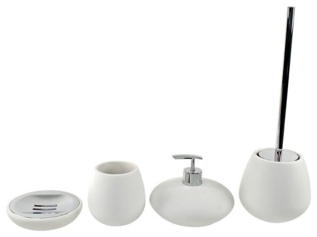 Round 4 Piece White Bathroom Accessory Set Contemporary