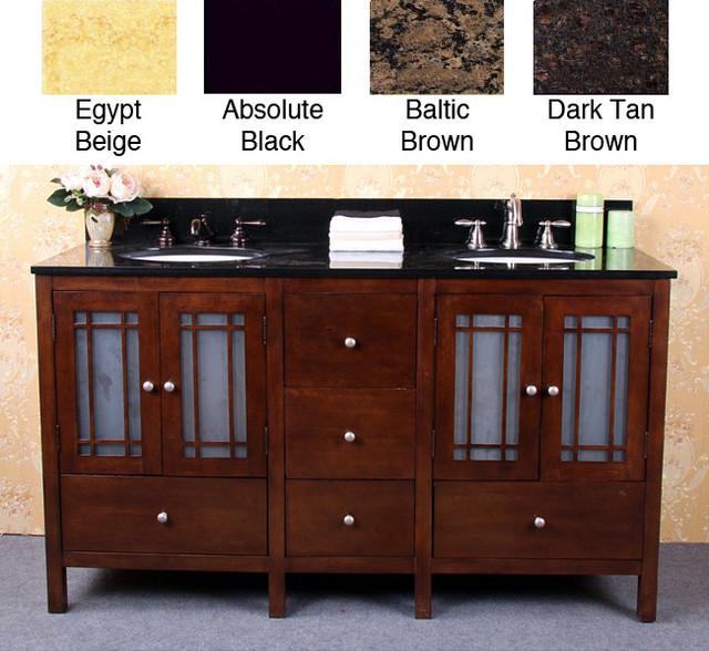 Granite Top 60-inch Double Sink Bathroom Vanity - contemporary