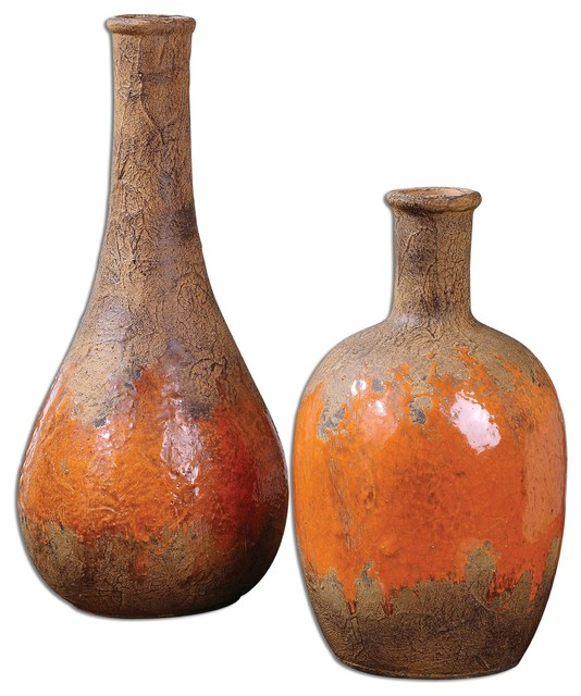 Rustic orange kadam ceramic vases s 2 mediterranean for Home decor vases
