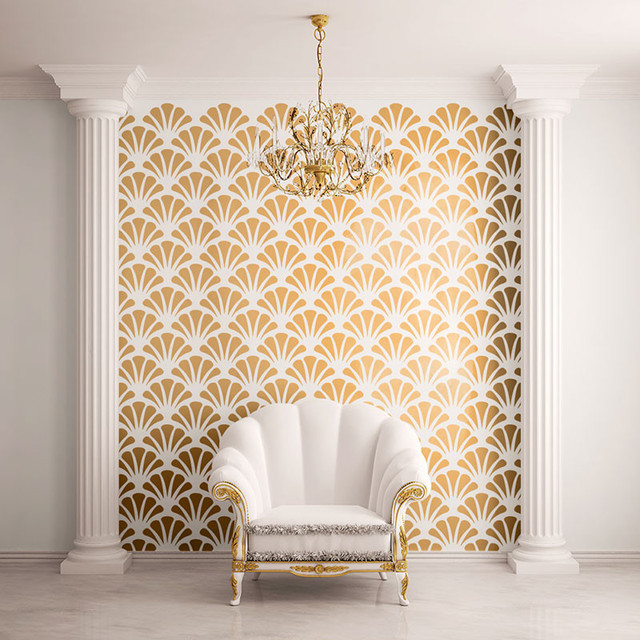 scallop shell pattern wall stencils contemporary wall. Black Bedroom Furniture Sets. Home Design Ideas