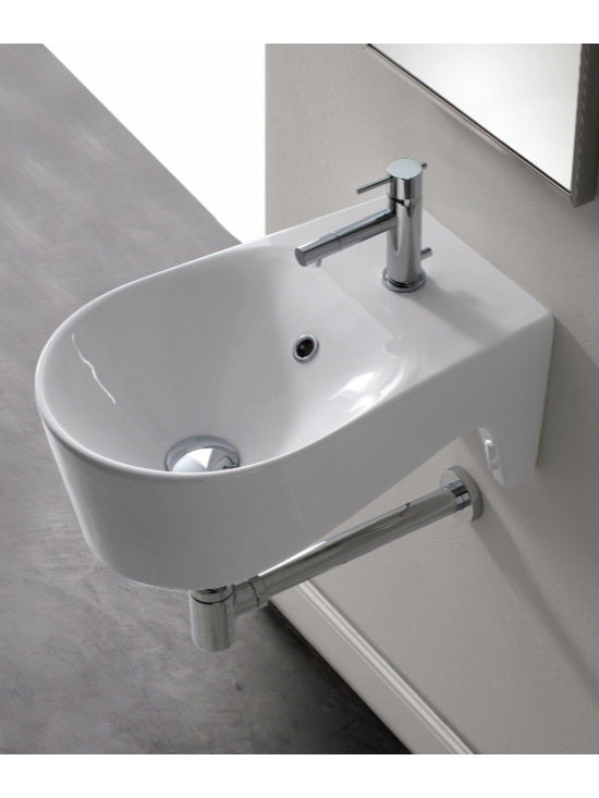 "Scarabeo - Simple Rounded White Ceramic Wall Mounted Bathroom Sink - Designed and manufactured in Italy by Scarabeo. Simple contemporary round wall mounted bathroom sink made of high quality white porcelain ceramic. Washbasin includes overflow and comes with a single predrilled faucet hole. Sink dimensions: 12.60"" (width), 9.10"" (height), 19.70"" (depth)"