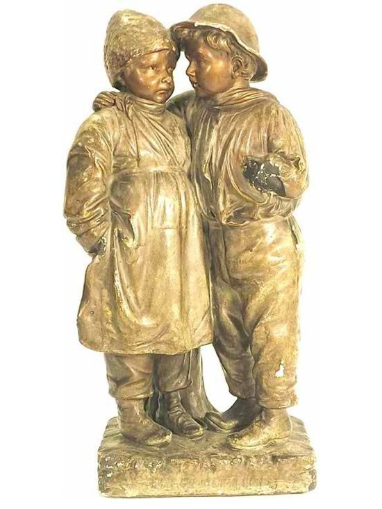German Sculpture - Antique German sculpture of boy and girl, c. 1900 - 1910. German inscription on base.