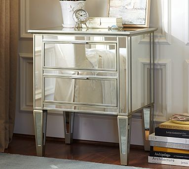 Park Mirrored Bedside Table Traditional Nightstands