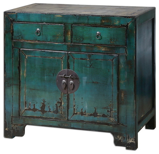 Uttermost 24356  Syretta Antique Console Cabinet transitional-console-tables
