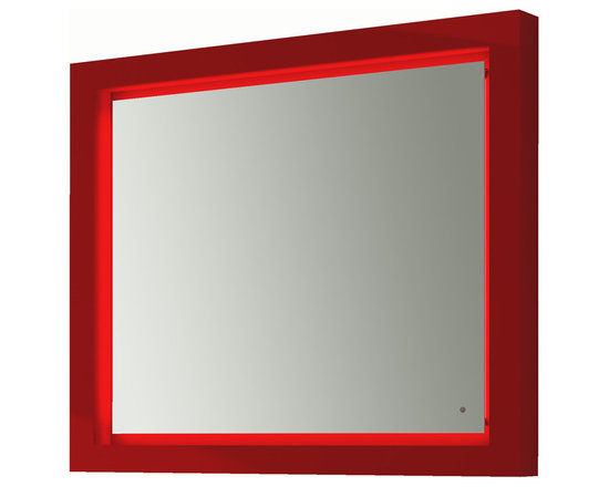 "Due LED bathroom mirror 39""1/4. One Touch switch. Red -"