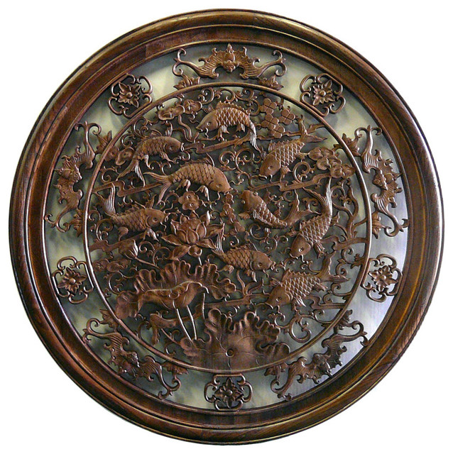 Chinese Round Fishes Wooden Wall Plaque Decor Asian Artwork By