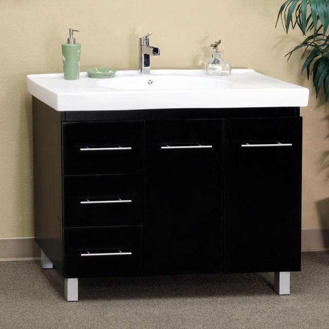 Black Wood 39 Inch Single Sink Vanity With Left Side Drawers Contemporary Bathroom Vanities