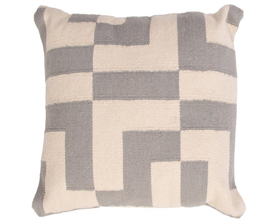"""Jaipur - CORSICA Pillow Set of 2, Slate, 18""""x18"""", Steel - This funky range of pillows in poly dupione uses rich jewel tones expressed in a highly textural and fun way. Perfect for a touch of retro glamour in your home."""