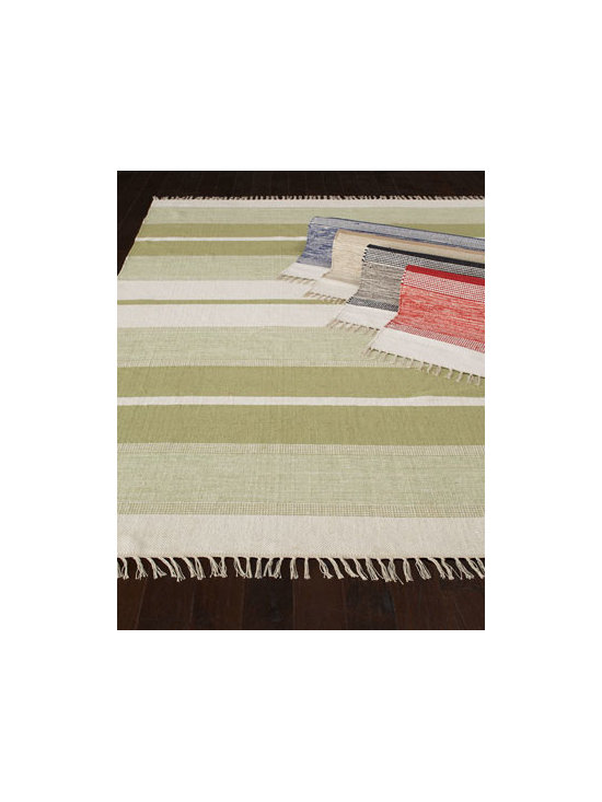 "Exquisite Rugs - Exquisite Rugs ""Blasio Stripes"" Flatweave Rug - A repeating pattern of alternating wide and narrow stripes in varying shades adds balance to this handmade, hand-trimmed flatweave rug. Select color when ordering. Made of dyed Indian cotton. Durable and intended for foot traffic. Sizes will vary. I..."