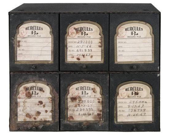 Prescription Storage Cabinet - Vintage Hercules prescription storage cabinet used in a pharmacy.