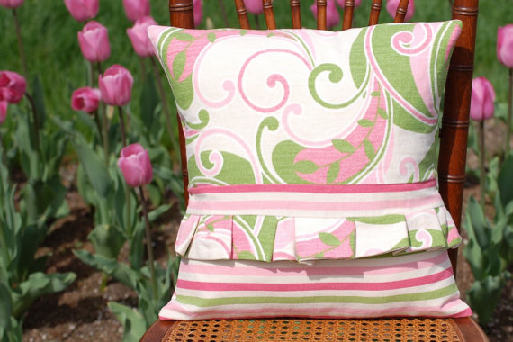 Soft Pink and Green Floral Modern Throw Pillow by Lilypad Workshop traditional-decorative-pillows