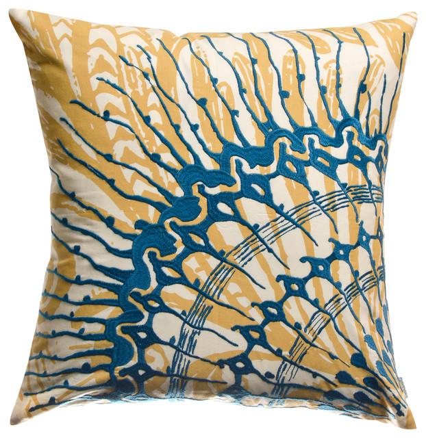 "Water Pillow, Blue and Mustard, 18"" x 18"" mediterranean-decorative-pillows"