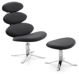 Spinal Chair and Ottoman - Black modern dining chairs and benches
