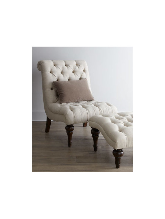 """Horchow - """"Joyce"""" Chair & Ottoman - A combination of turned legs and tufted upholstery gives this chair and ottoman eye-pleasing appeal while sinuous curves make them the perfect spot for relaxing. Hardwood frames. Linen/cotton upholstery. Finished backs. Chair, 29.5""""W x 39.5""""D x 40.5""""T. Boxed weight, approximately 45 lbs. Ottoma"""