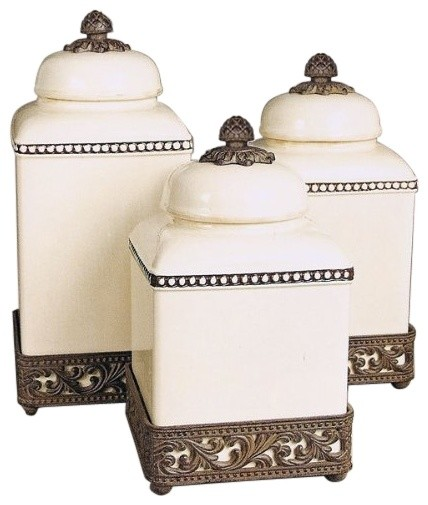 The gg collection cream acanthus leaf canisters set of 3 for Hearth and home designs canister set