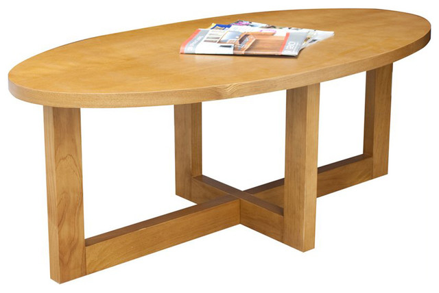 Regency Chloe Oval High Veneer Coffee Table In Medium Oak Transitional Coffee Tables By Cymax