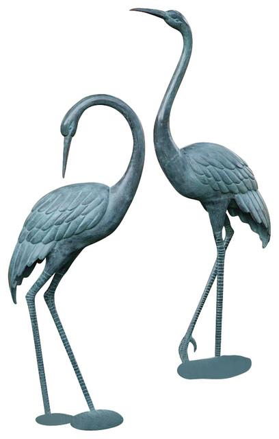 Medium Garden Crane Pair Contemporary Garden Statues And Yard Art By Shop Chimney