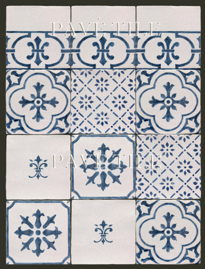 Blue and White Cuisine de Monet - 18th Century Tiles from Rouen  kitchen tile