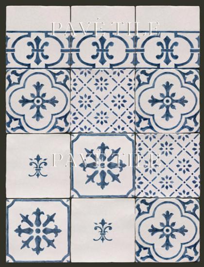 Blue and White Cuisine de Monet - 18th Century Tiles from Rouen tile