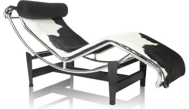 LE CORBUSIER INSPIRED MODERN COW HIDE CHAISE LOUNGE modern-indoor-chaise-lounge-chairs