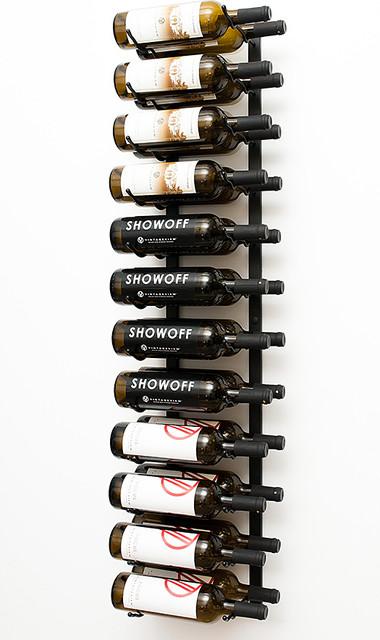 VintageView® 24 Bottle Wall Mounted Wine Rack in Satin Black modern-wine-racks