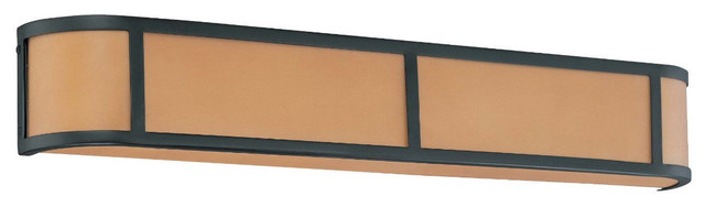 Aged Bronze Energy Star 4 Light Wall Sconce With Parchment Glass contemporary-wall-sconces