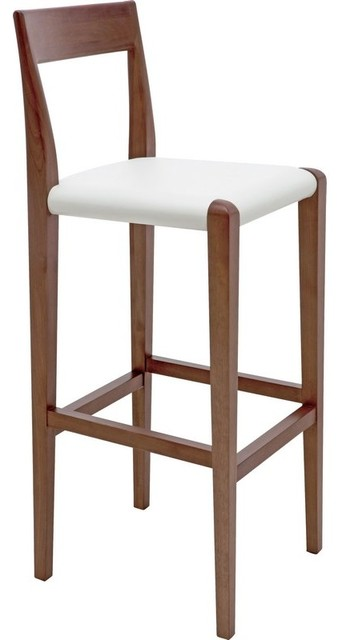 Walnut Counter Stools, White Leather Seats contemporary-bar-stools-and-counter-stools