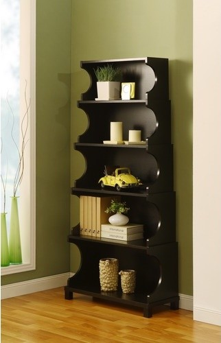 Enitial Lab Cosma 5-Shelves Bookcase/Display Cabinet in Antique Black Finish modern-storage-cabinets
