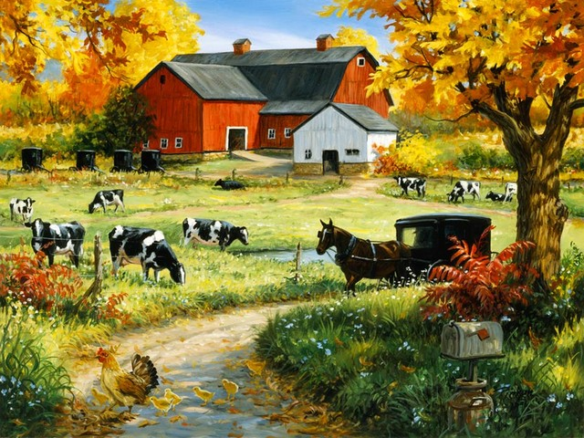 Amish red barn wall art farmhouse wallpaper by for Barnyard wall mural
