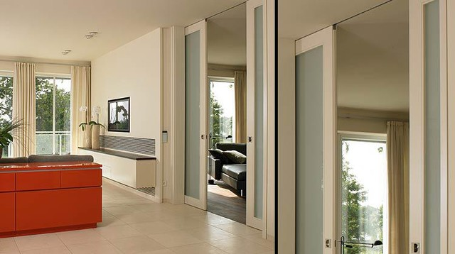 Modern interior doors for Modern glass pocket doors