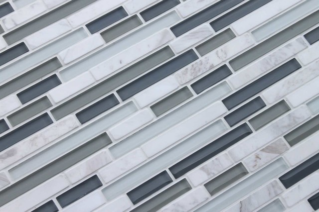 Bliss Series Iceland Linear Glass And Stone Mosaic Tiles
