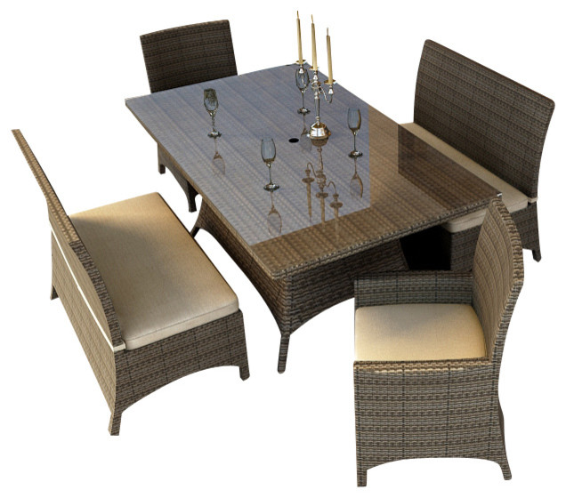 Hampton 5 Piece Wicker Patio Dining Set Heather Wicker and Beige Cushions