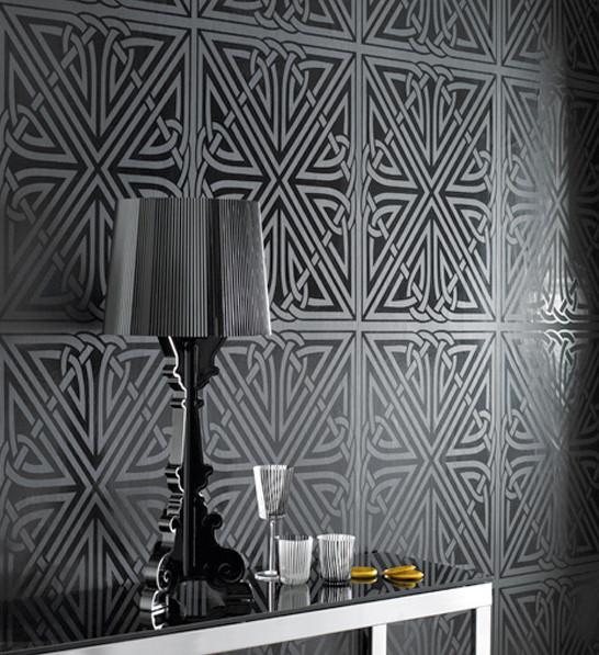 Barbara hulanicki wallpaper viva pattern in black for Wallpaper viva home