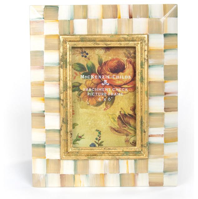 Parchment Check Enamel Frame - 4x6 eclectic