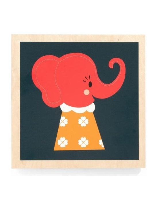 Ferm Living Elle Elephant Picture - The Elle Elephant by Ferm Living, is an adorable wooden framed picture that is easy to hang and will look super cute in your kids room.