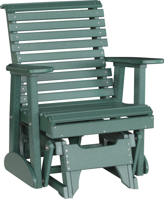 Outdoor Poly 2 Foot Porch Glider Chair Rollback Green Beach Style Outdo