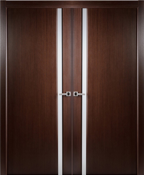 Contemporary wenge veneer interior double door frosted for Modern front double door designs