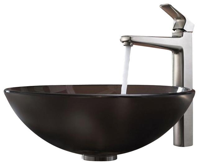 Kraus Glass Vessel Sink and Virtus Faucet modern-bathroom-sinks
