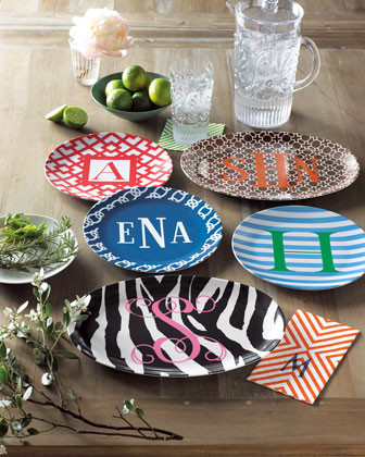Four Blue Knots Dinner Plates with White Three-Initial Monogram traditional dinnerware