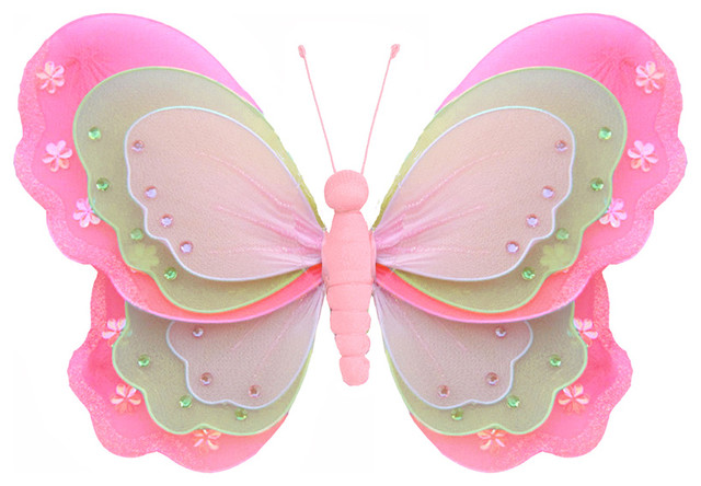Pink Butterfly Wall Decoration : Butterfly decorations large dark pink green hanging