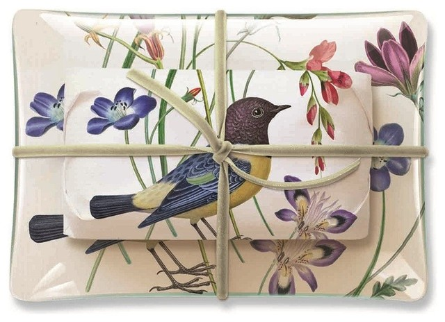 Studio Rectangle Meadow Tray and Soap Set traditional-bath-and-spa-accessories