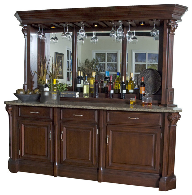 american heritage back bar with hutch in mojave