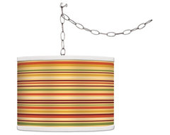 Traditional Stacy Garcia Harvest Stripe Giclee Glow Plug-In Swag Pendant traditional curtains