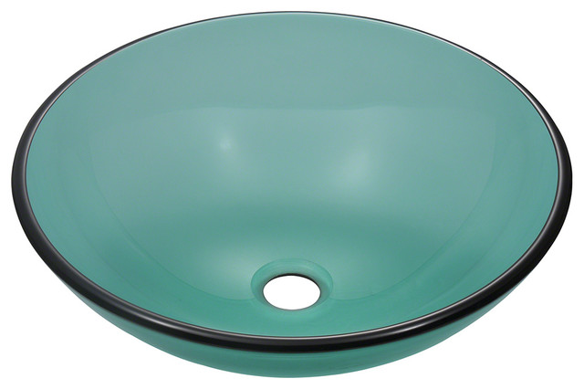 Emerald Colored Glass Vessel Sink Traditional Bathroom Sinks
