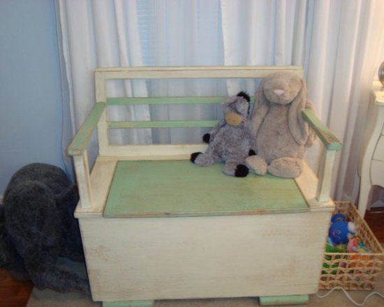 Antique bench used as toy box - Antique green and white small storage bench is used for storing toys