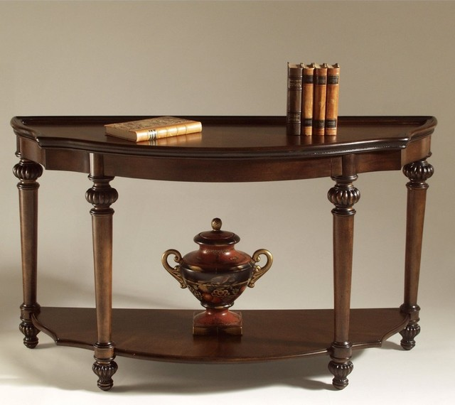 The Magnussen T1255 Ferndale Wood Shaped Console Table is a regal table that bri traditional-coffee-tables