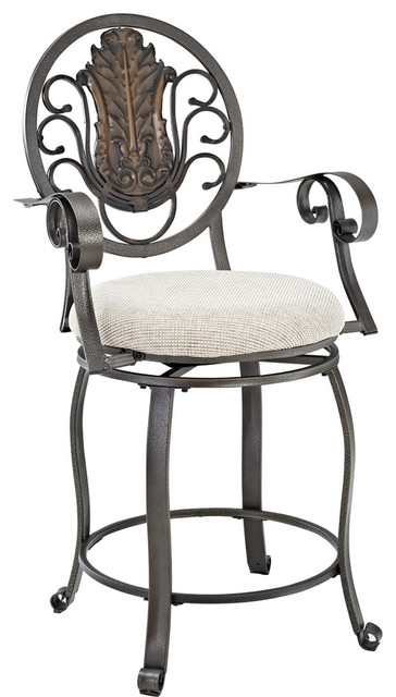 Powell Big And Tall Scroll Medallion Back Counter Stool In