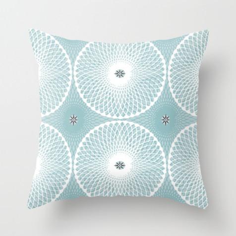 Pale Blue Throw Pillow : Sea Rosette Pale Blue Accent Throw Pillow - Contemporary - Decorative Pillows - portland maine ...