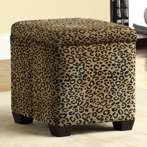 Leopard Fabric Storage Ottoman Eclectic Footstools And Ottomans By Hayneedle