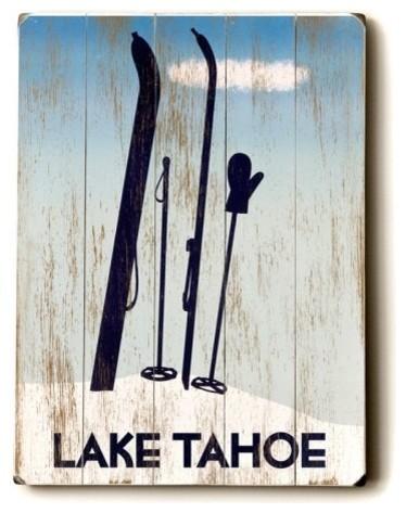 14 x 20 in. Tahoe Ski Wood Sign contemporary-artwork